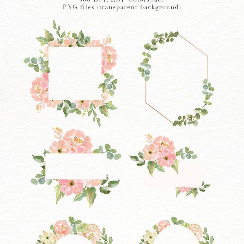 Watercolor Flower Border Clipart Romantic Blush Peony Floral Frame Png For Southwestern Wedding Invitations Feminine Logos Essem Creatives Flower Border Clipart Flower Border Clip Art Borders