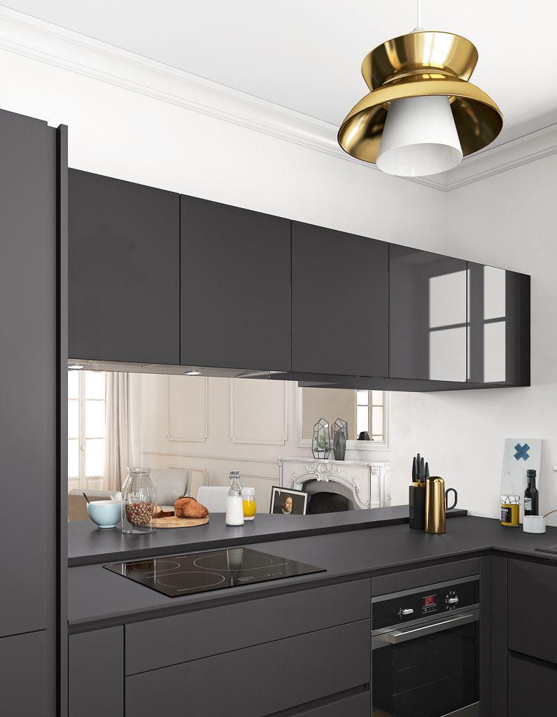 Plan De Travail Stratifie Noir Structure 128 6 X 68 5 Cm 226 Mobalpa En 2020 Credence Cuisine Cuisine Contemporaine Cuisine Moderne