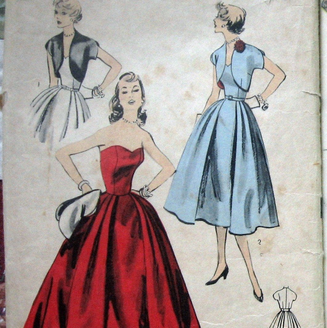 1950 Vintage Womens Strapless Prom Dress Pattern With Bolero ...