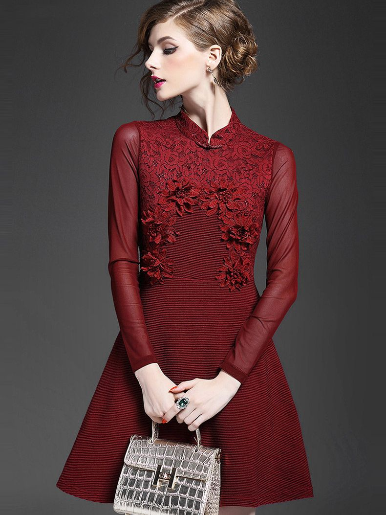 Wine red round neck long sleeve embroidered dress fatherus day