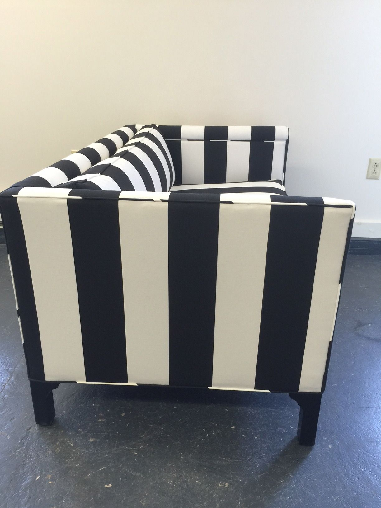 Pair Of Chic Updated Vintage Black And White Striped Loveseats