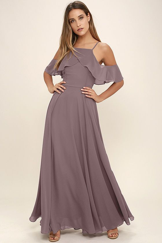 b1e8d57e0c Each step and sway in the Chandelier Dusty Purple Maxi Dress will be  breathtaking! Apron neckline has ruffling off-the-shoulder sleeves. Full maxi  skirt.