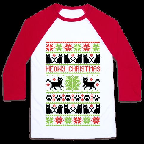 Meowy Christmas Cat Sweater Pattern Baseball Tee