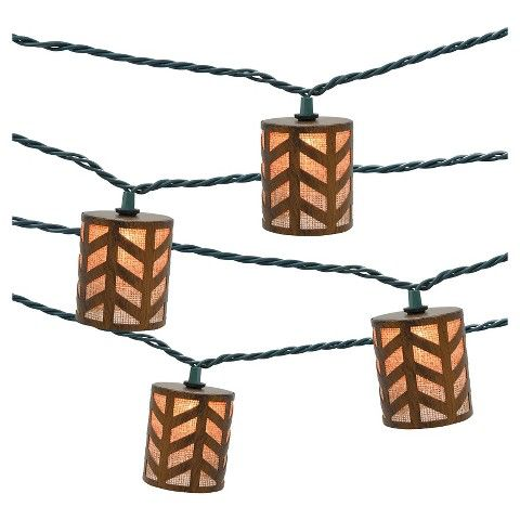 Target Solar String Lights Ul 10Ct Indooroutdoor String Light Metal Round Cover With Burlap