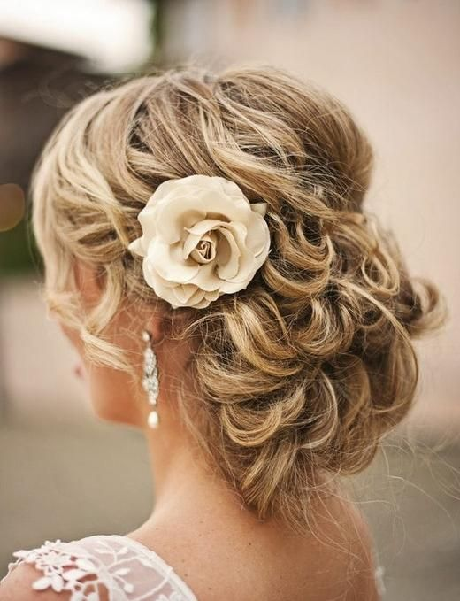 Romantic Curly Updo Hairstyle With Flower Hair Styles Mother Of The Bride Hair Medium Hair Styles