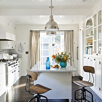 Jessica Helgerson, wide galley kitchen with island and barstools ...