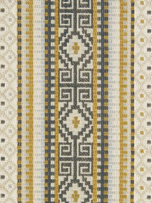 Yellow Grey Woven Stripe Ikat Upholstery Fabric By The Yard Dark