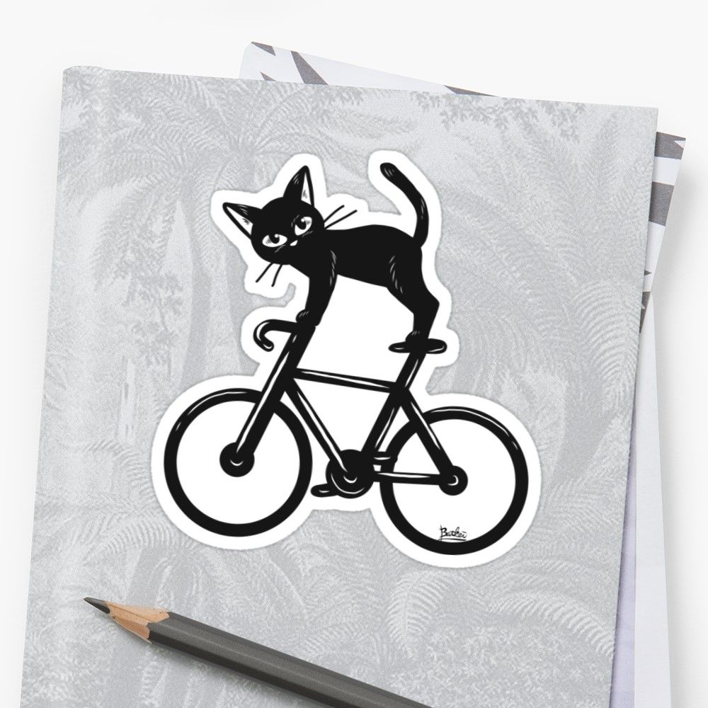 Cat loves a bikeu sticker by batkei in sold pinterest