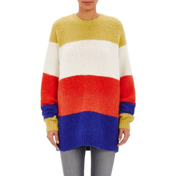 Acne Studios Women's Chunky Alvah Sweater (£425) ❤ liked on Polyvore featuring tops, sweaters, no color, chunky striped sweater, stitch sweater, crew sweater, stripe top and stripe sweater