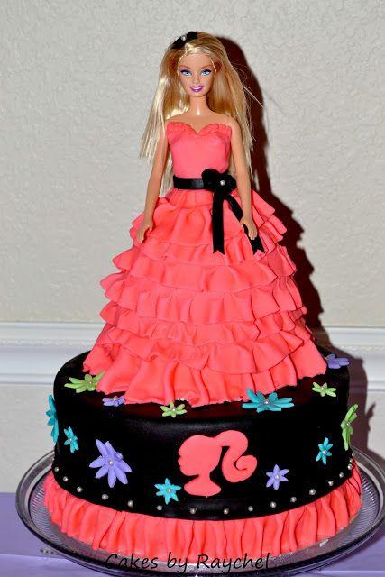 Super cute cake: Fondant Barbie Ruffle Cake. All Dolled Up Barbie Cupcakes