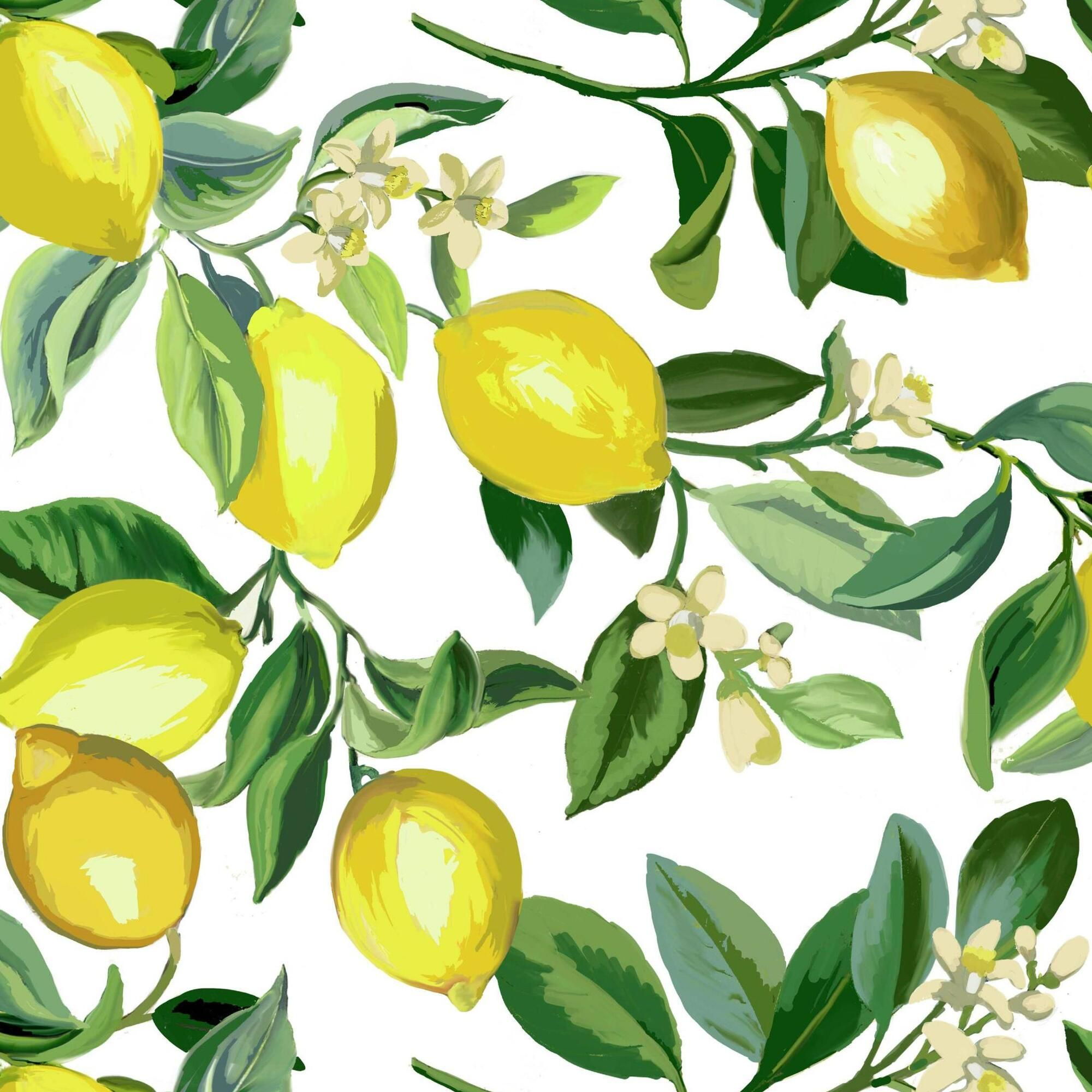 White and Yellow Lemon Peel and Stick Wallpaper (With
