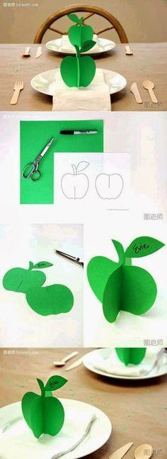 Adorno manzana 3D de papel  -  3D Papier d'd'Apple Ornement