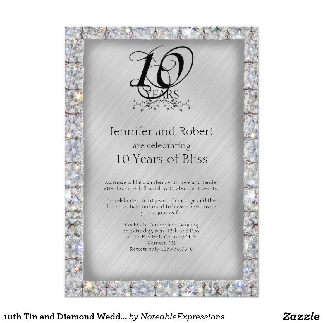 50th Wedding Anniversary Gift Etiquette: 10th Tin And Diamond Wedding Anniversary Invitation