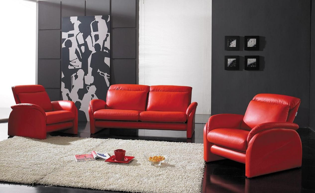 Contemporary Living Room Set In Black Red Or Cappuccino: Deluxe Living Room Interior With White And Black Wall