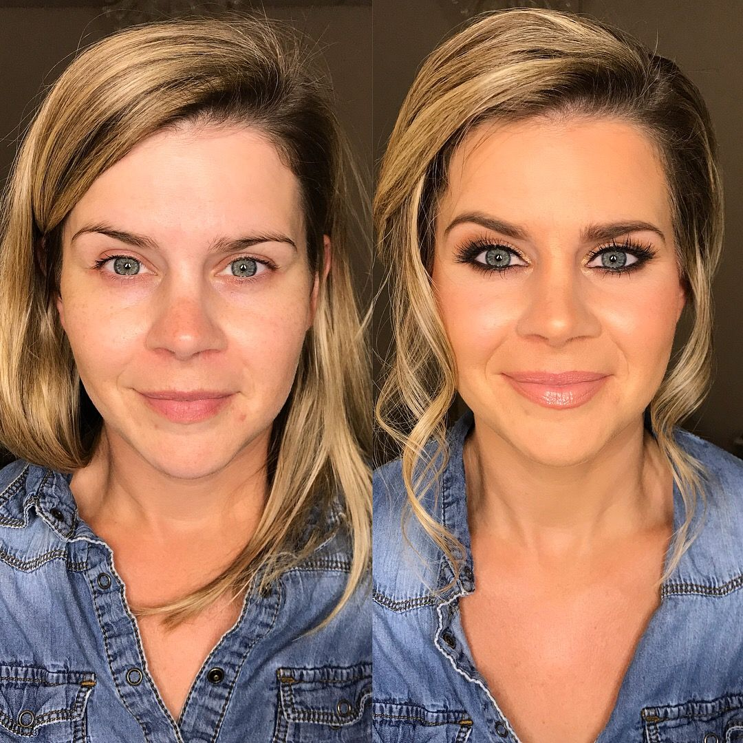Before and after bridal wedding airbrush makeup dewy skin