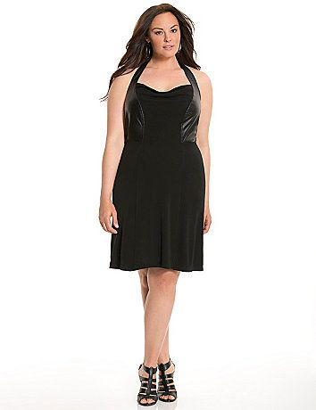 Lane Collection's haute halter dress gets serious style points from faux leather panels at the bodice and a sexy draped neckline. Luxe matte Jersey construction keeps the look sleek and lightweight, with full lining for a flattering drape.  lanebryant.com