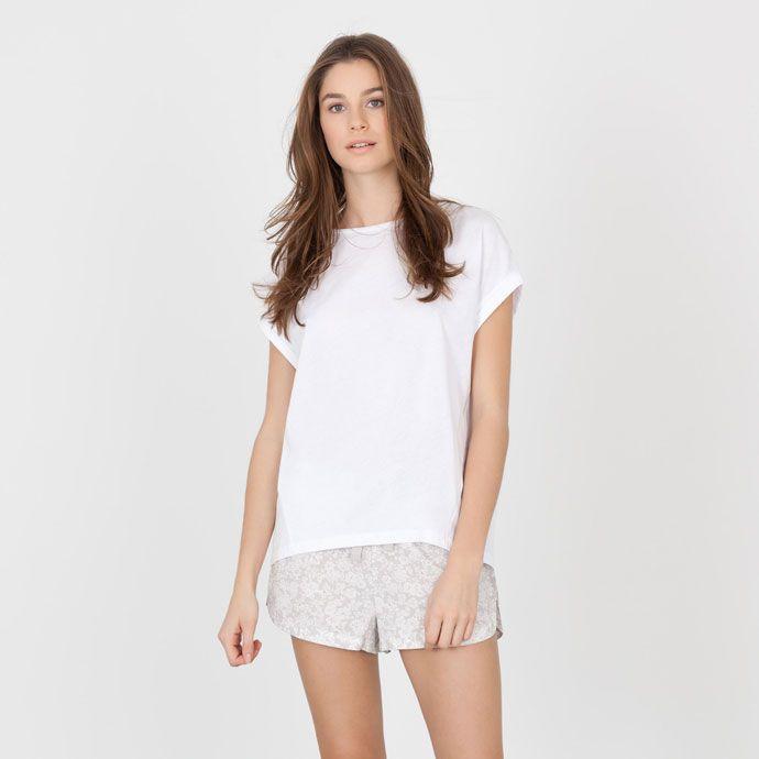 White cotton T-shirt - Clothing - Woman - Loungewear & shoes | Zara Home Canada