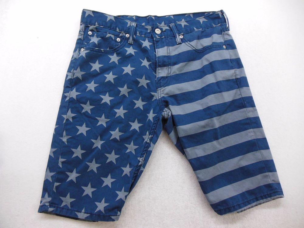 New Levi's Mens 511 0026 American Flag Stripes Stars Blue Shorts Pants Size 33  #Levis #Denim