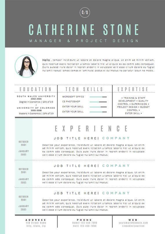 Resume Template \/ #CV Template Cover Letter for byu2026 Esthetics - Resume With Photo Template