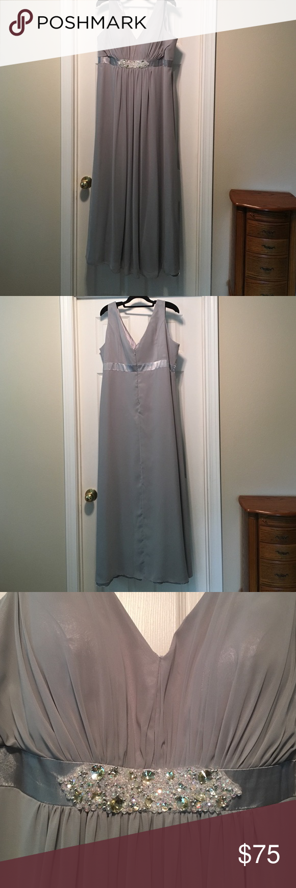 "Silver gray mother of the bride gown Beautiful chiffon over satin empire waist gown. Jewel trim under the bust. Built in bra. Worn once at my daughter's wedding. Has been professionally cleaned. I am 5'6"" and it touched the top of my sandals. Hay Queen Dresses Prom"
