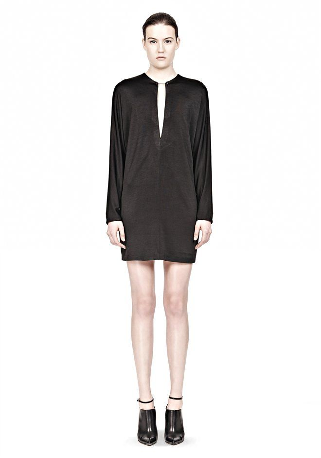 Pique Long Sleeve Dress With Collar Pin Thumb