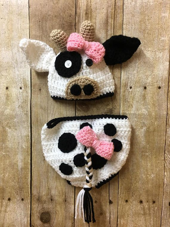 Photo of Newborn cow photo prop, baby girl cow outfit, crochet cow outfit, cow photo prop, newborn cow hat, cow outfit, baby cow clothing