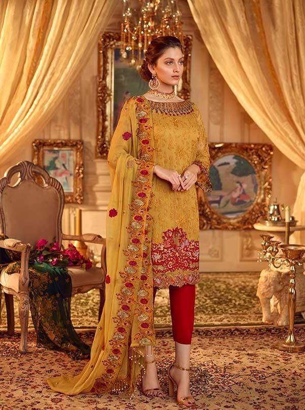 07887ac966 Akbar Aslam - Chiffon - 05 Golden Roses. Original outfit by Akbar Aslam  Chiffon Luxury Royal Collection 2019 Three piece stitched ...