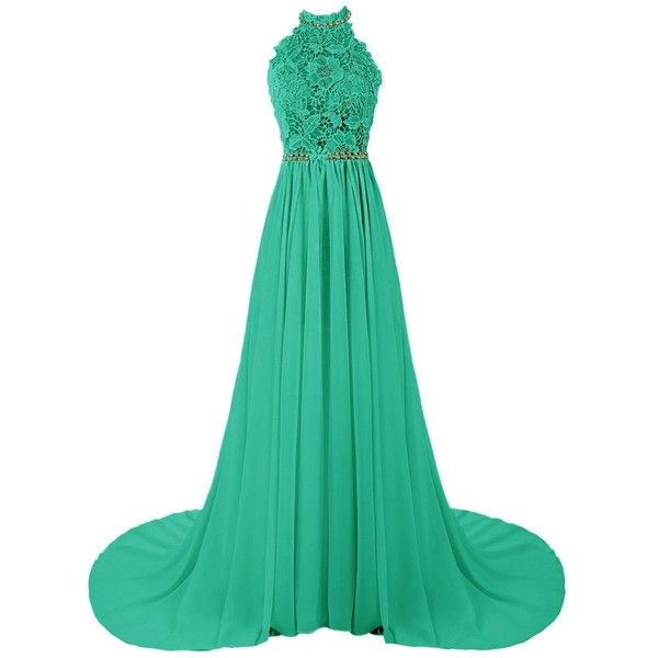 f1d3e52b05d7 Dresstells Women's Halter Long Prom Dresses Bridesmaid Wedding Dress ($80)  ❤ liked on Polyvore featuring dresses, gowns, green gown, long evening gowns,  ...
