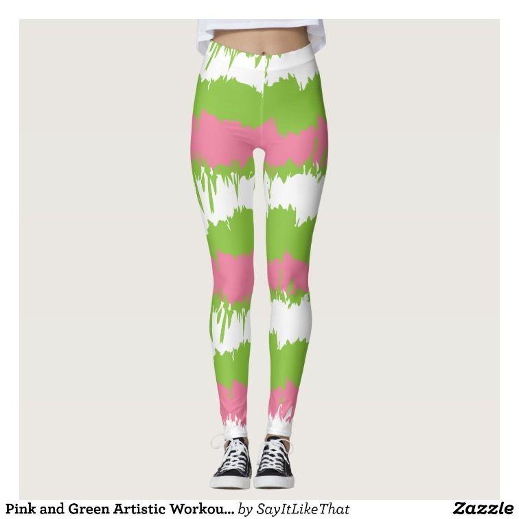 Pink And Green Artistic Workout Gear Leggings Christmas Leggingss Wearworkout Gearalpha Ka Alpha