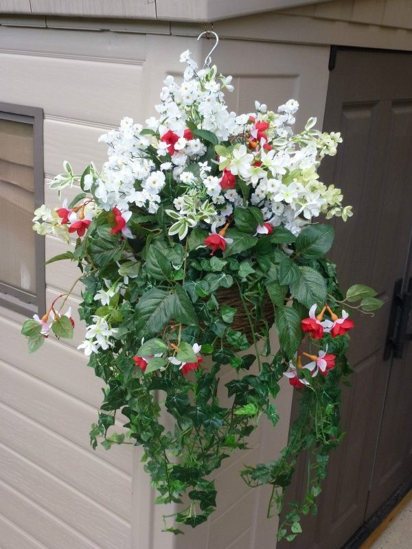 Hanging basket large with artificial white seven heaven, fuchsias & wild flowers