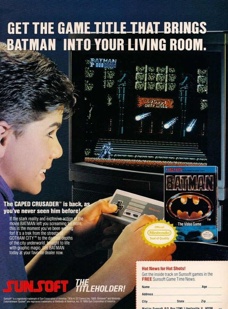 Ad for Batman on the NES.