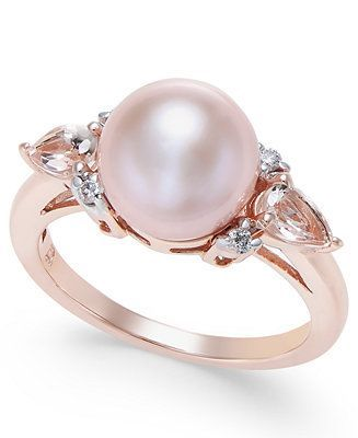 Photo of Macy's Pink Cultured Freshwater Pearl (9mm), Morganite (3/8 ct. t.w.) and Diamond Accent Ring in 14k Rose Gold & Reviews – Rings – Jewelry & Watches – Macy's