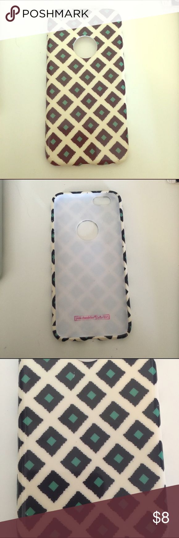 Never used iPhone 6/6s case Cream colored iPhone 6/6s case with diamond shaped pattern. Cutout where the apple logo is. Rubbery material. Never used. Pink Chandelier  Accessories Phone Cases