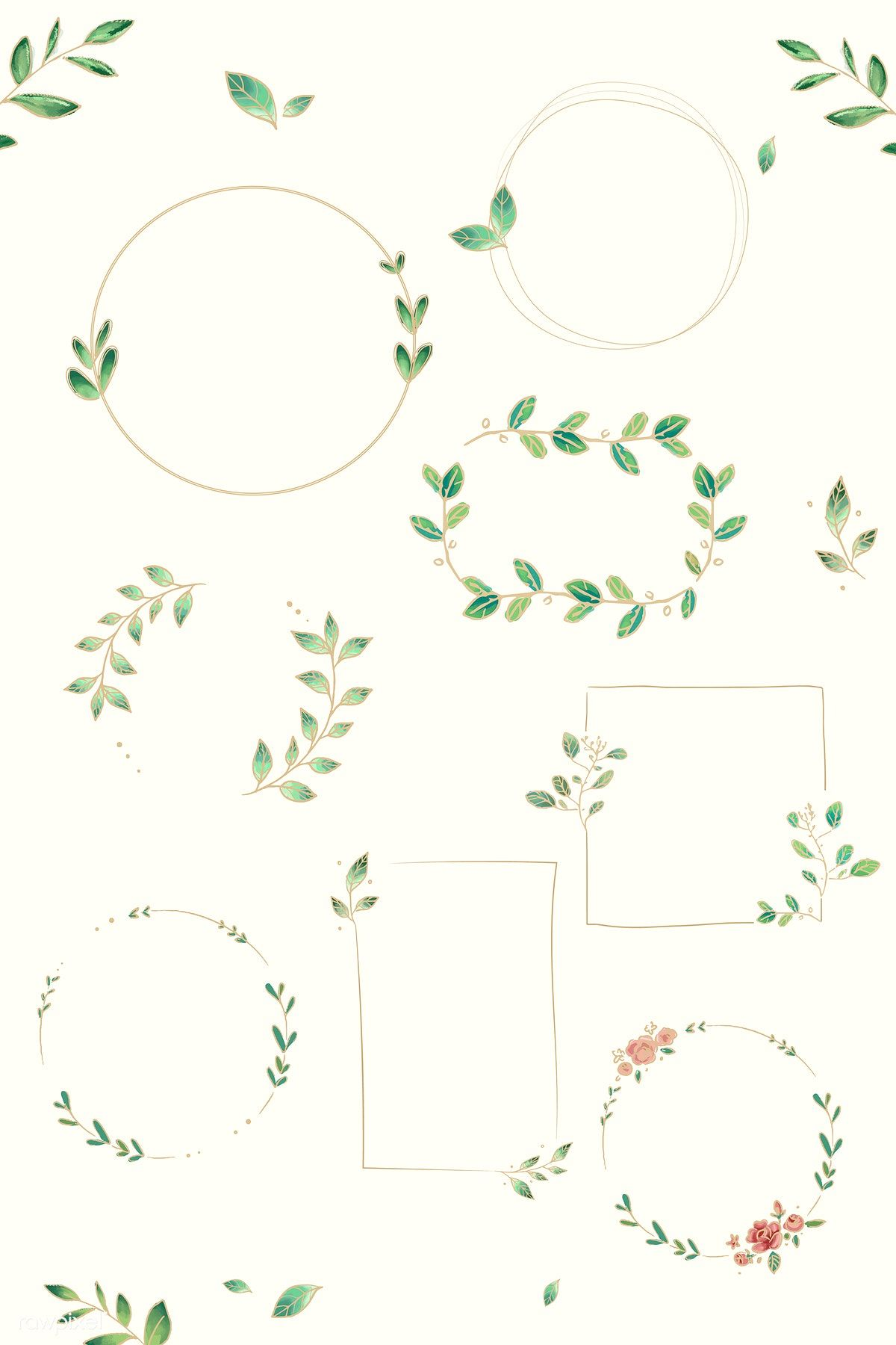 Photo of Download premium vector of doodle floral wreath vector collection 843847