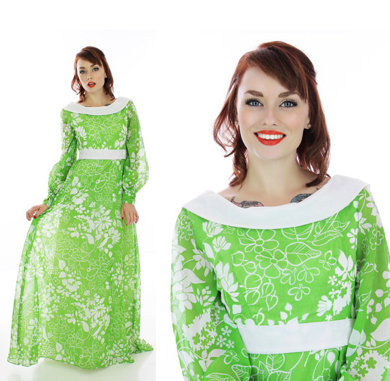 60s Hostess Dress Vintage Mod Gown 1960s By