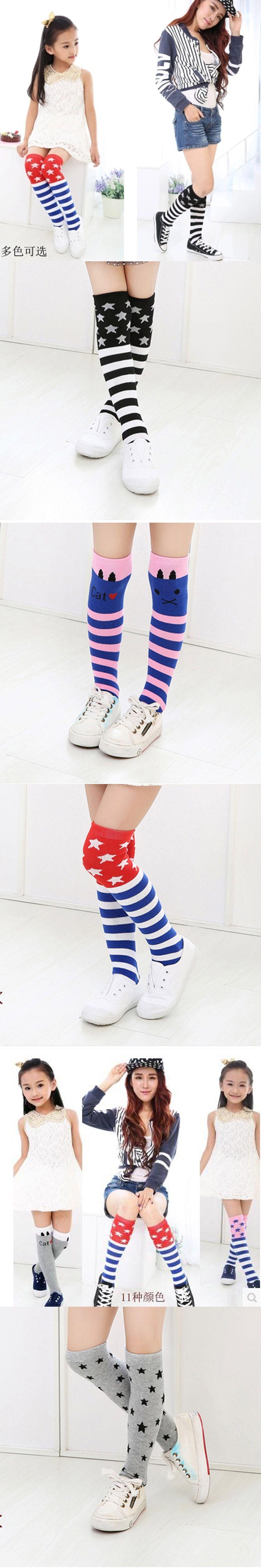Baby Girl Sock Colorful Striped Cartoon Printed Cute Children s Knee