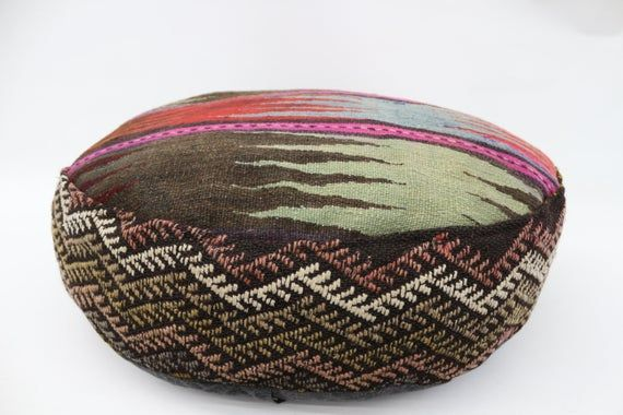 Geometric Kilim Pouf,Camping Puff,24x24x6 Pear Seat, Pink Pouf,Circle Pouf,Floor Pillow Cover,Garden