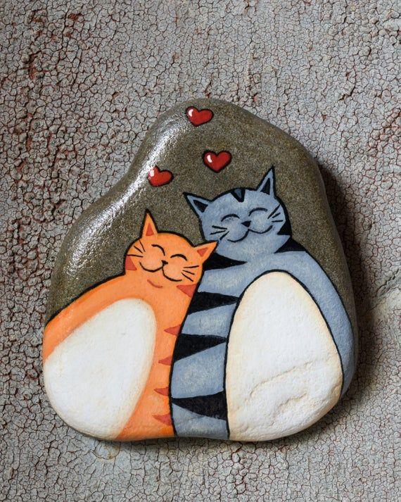 Cats in love, Painted rock, Grey cat, Orange cat