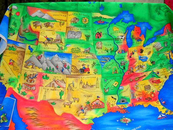 United States Map Fabric US Map Panel Sewing Supplies Quilting
