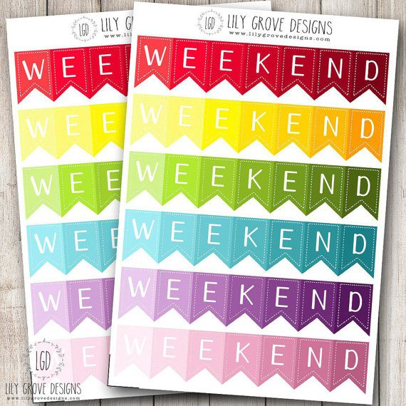 Ombre 3 Day Weekend Banner Set of 12  Erin by lilygrovedesigns