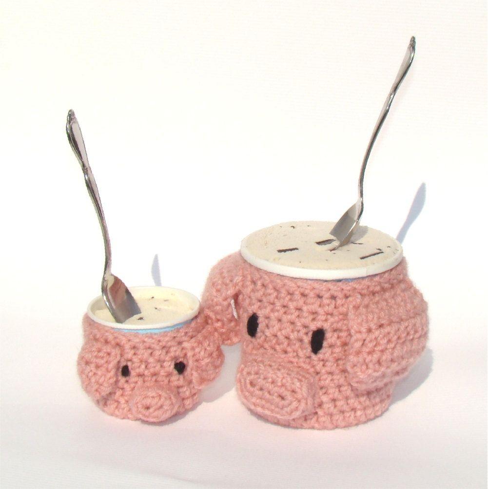 Pig and Piggy Ice Cream Tub Crochet Cozy PDF Pattern. $4.99, via Etsy.