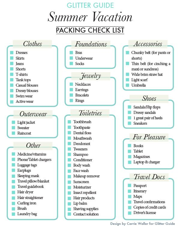 Summer Vacation Packing Checklist  Summer Packing Lists Holiday
