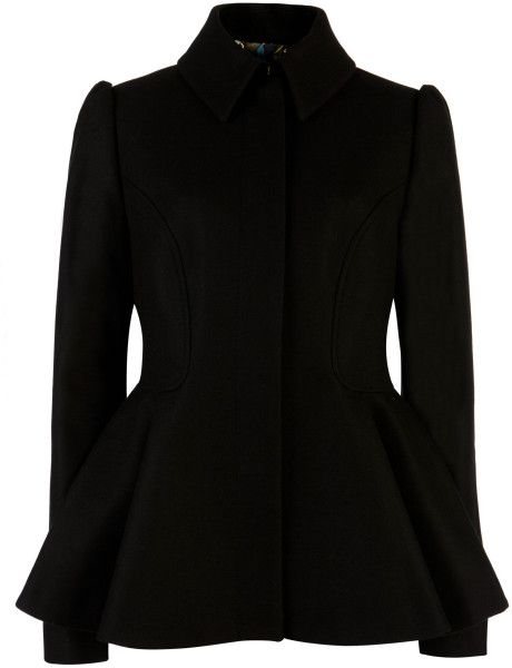 c4ed6711b Ted Baker Sollel Short Peplum Coat in Black - Lyst