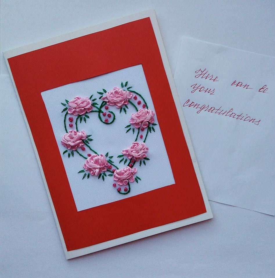 Valentines day card heart love red flower card mothers day mom valentines day card heart love red flower card mothers day mom birthday gift card embroidered handmade card greeting card floral card kristyandbryce Image collections