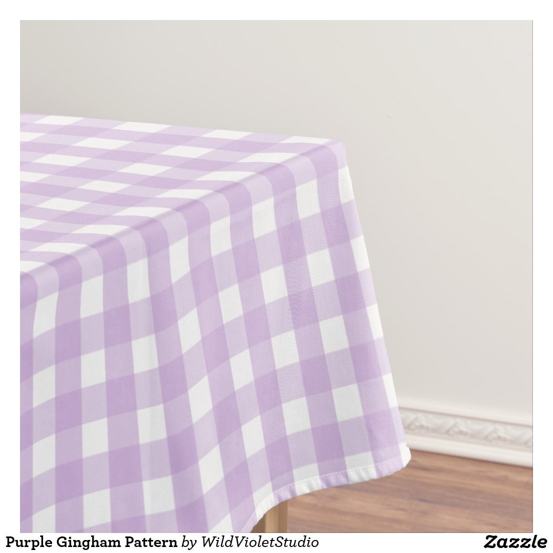 Purple Gingham Pattern Tablecloth