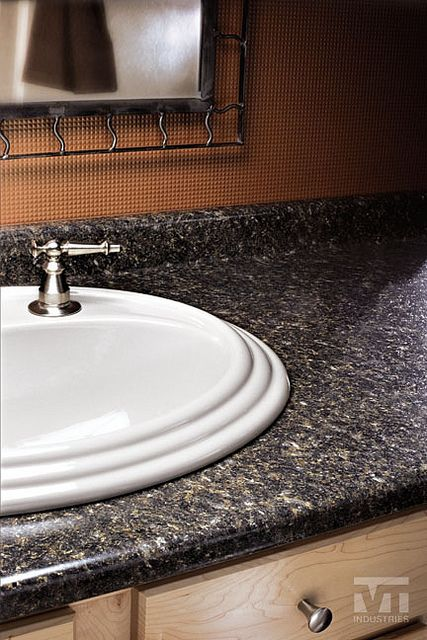 Labrador Granite Formica With White Sink And Chrome Hardware
