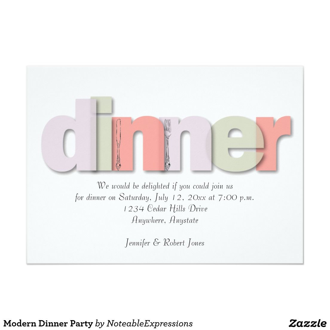Modern dinner party invitation party invitations pinterest modern dinner party 5x7 paper invitation card stopboris Image collections