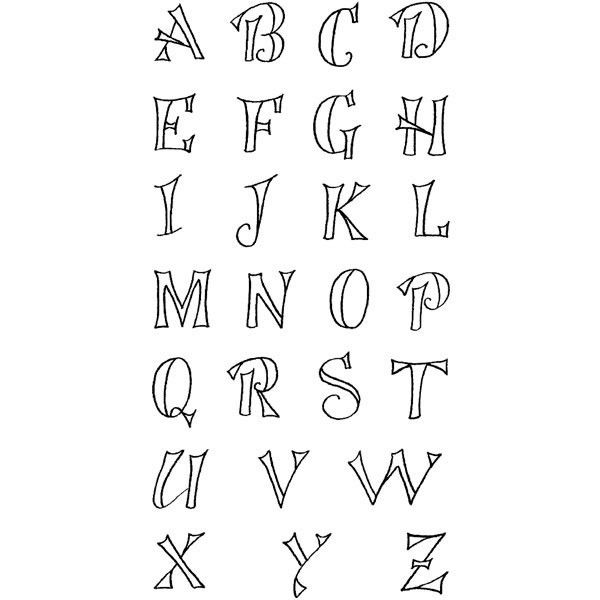 Fanciful Outline Uppercase Alphabet Clearly Impressed