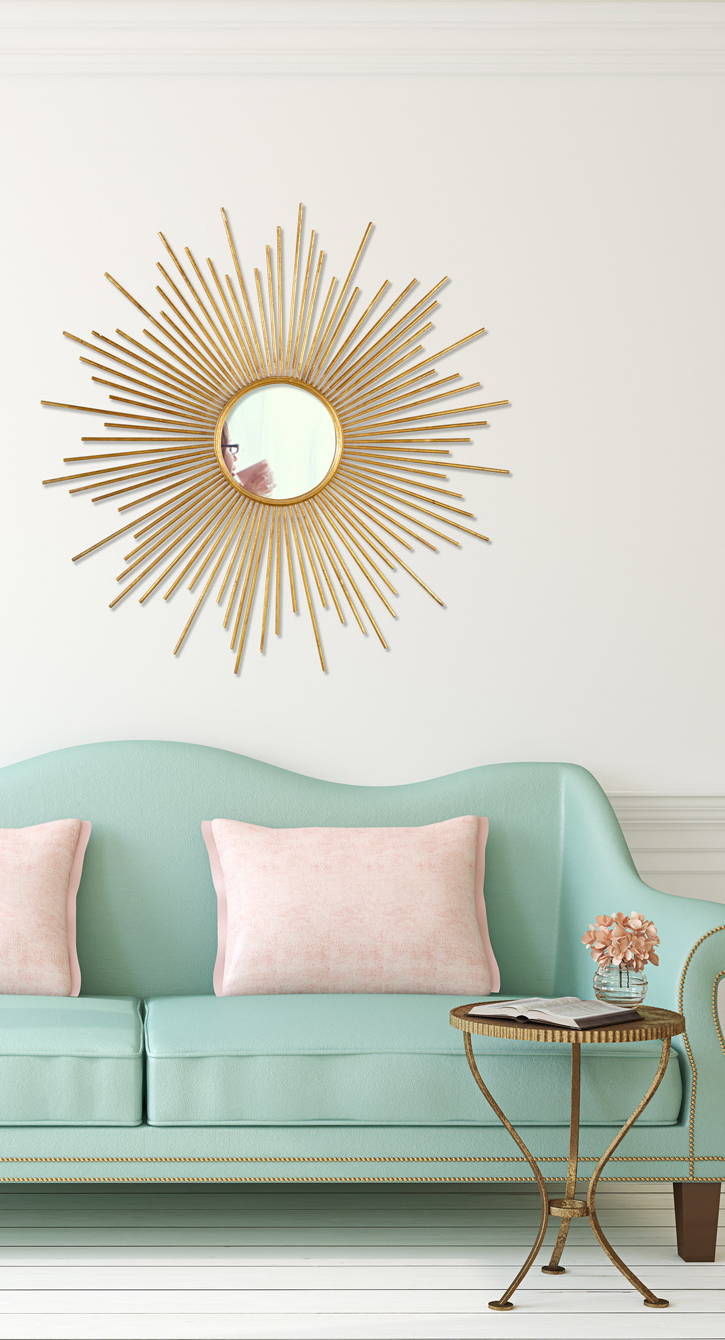 Sun Shaped Mirrors Aqua Sofa Mirror With Sun Shaped Gold Frame Interiors Decor
