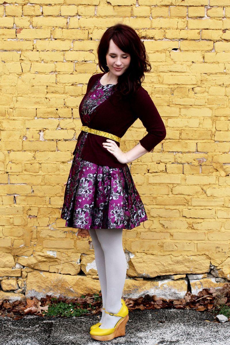 Spread the cheer bright yellow dark purple and grey tights